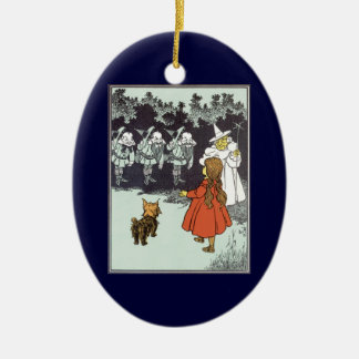 Vintage Wizard of Oz Dorothy Toto Glinda Munchkins Christmas Ornament