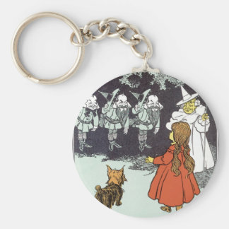 Vintage Wizard of Oz Dorothy Toto Glinda Munchkins Keychain