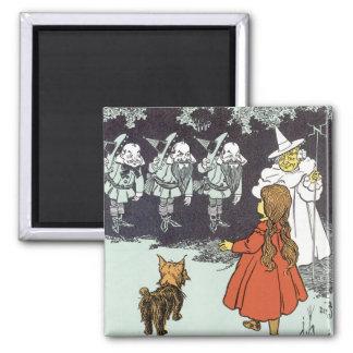 Vintage Wizard of Oz Dorothy Toto Glinda Munchkins Magnet