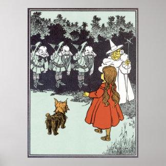 Vintage Wizard of Oz Dorothy Toto Glinda Munchkins Poster