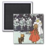 Vintage Wizard of Oz Dorothy Toto Glinda Munchkins Square Magnet