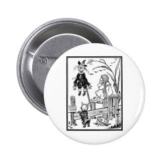 Vintage Wizard of Oz, Dorothy Toto Meet Scarecrow 6 Cm Round Badge