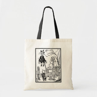 Vintage Wizard of Oz, Dorothy Toto Meet Scarecrow Budget Tote Bag