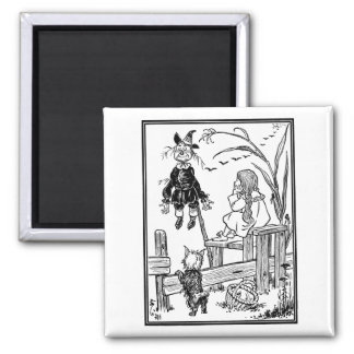 Vintage Wizard of Oz; Dorothy Toto Meet Scarecrow Square Magnet