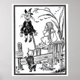 Vintage Wizard of Oz; Dorothy Toto Meet Scarecrow Poster