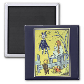Vintage Wizard of Oz, Dorothy Toto Meet Scarecrow Square Magnet