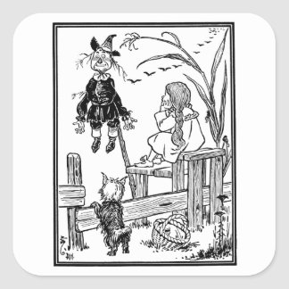 Vintage Wizard of Oz, Dorothy Toto Meet Scarecrow Square Sticker