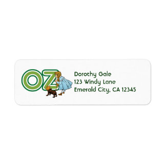 Vintage Wizard of Oz Dorothy Toto with BIG Letters Return Address Label
