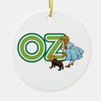 Vintage Wizard of Oz Dorothy Toto with BIG Letters Round Ceramic Decoration