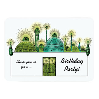 Vintage Wizard of Oz, Emerald City Birthday Party 13 Cm X 18 Cm Invitation Card