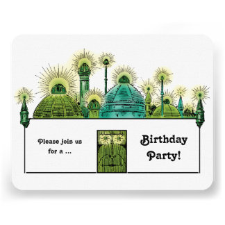 Vintage Wizard of Oz, Emerald City Birthday Party Announcements