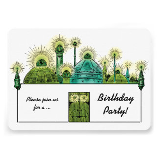 Vintage Wizard of Oz, Emerald City Birthday Party Personalized Invites