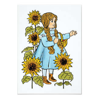 Vintage Wizard of Oz Fairy Tale Dorothy Sunflowers 13 Cm X 18 Cm Invitation Card