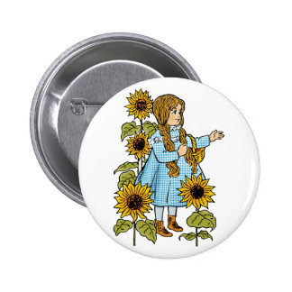 Vintage Wizard of Oz Fairy Tale Dorothy Sunflowers 6 Cm Round Badge