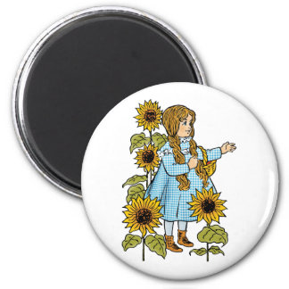 Vintage Wizard of Oz Fairy Tale Dorothy Sunflowers 6 Cm Round Magnet