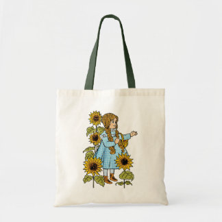 Vintage Wizard of Oz Fairy Tale Dorothy Sunflowers Budget Tote Bag