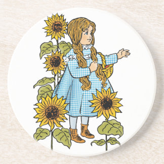 Vintage Wizard of Oz Fairy Tale Dorothy Sunflowers Coaster