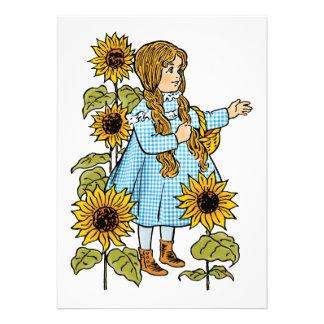 Vintage Wizard of Oz Fairy Tale Dorothy Sunflowers Custom Invitations