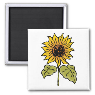 Vintage Wizard of Oz Fairy Tale Sunflower in Bloom Square Magnet