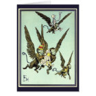 Vintage Wizard of Oz, Flying Monkeys with Dorothy Card