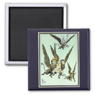 Vintage Wizard of Oz, Flying Monkeys with Dorothy Square Magnet