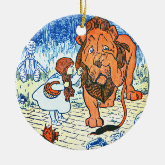 Vintage Wizard of Oz Illustration - Dorothy & Lion Christmas Ornament