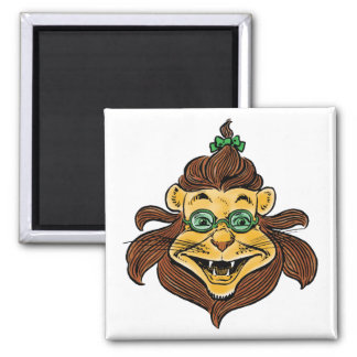 Vintage Wizard of Oz, Lion Wearing Green Glasses Square Magnet