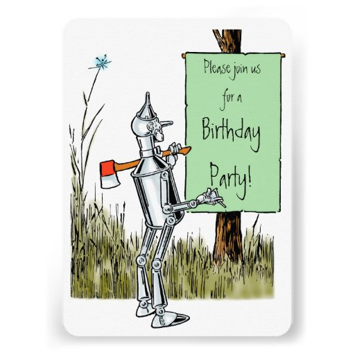 Vintage Wizard of Oz. Tinman and Lion Birthday Invites