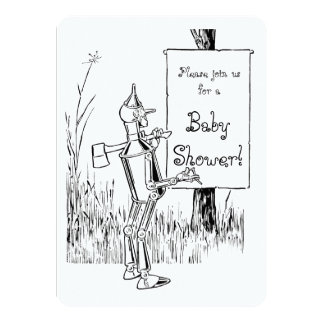 Vintage Wizard of Oz Tinman Baby Shower 11 Cm X 16 Cm Invitation Card