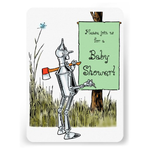 Vintage Wizard of Oz Tinman Baby Shower Personalized Announcement