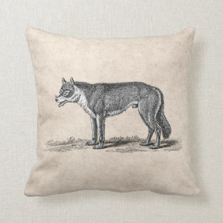 Vintage Wolf Illustration - 1800's Wolves Template Throw Cushions