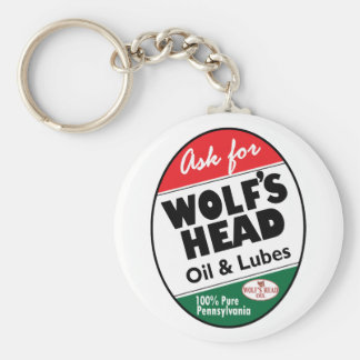 Vintage Wolfs Head sign Basic Round Button Key Ring