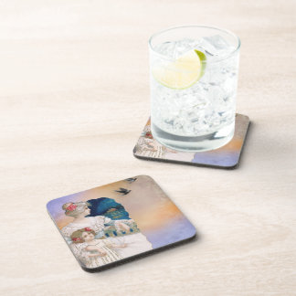Vintage Woman And Child Beverage Coasters