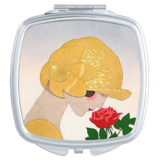 Vintage Woman and Rose Compact Mirrors For Makeup