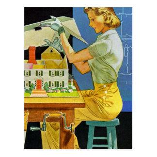 Vintage Woman Architect Miniature House Blueprints Postcard