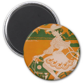 Vintage Woman Cycling with Cupid Magnet
