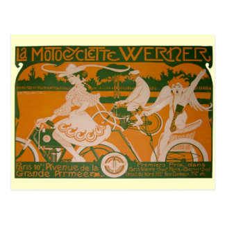 Vintage Woman Cycling with Cupid Postcard