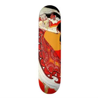 Vintage Woman Dance Red Orange Sunset Skateboard