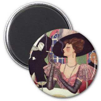 Vintage Woman Drinking Champagne Smoking Cigarette 6 Cm Round Magnet