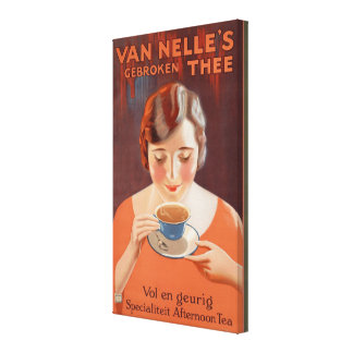 Vintage Woman Drinking Tea Painting Ad Gallery Wrapped Canvas