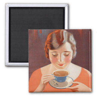 Vintage Woman Drinking Tea Painting Ad Square Magnet