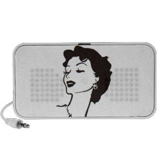 Vintage Woman Face Black and White French Graphic Speaker System
