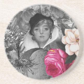 Vintage Woman Flower Garden Coasters