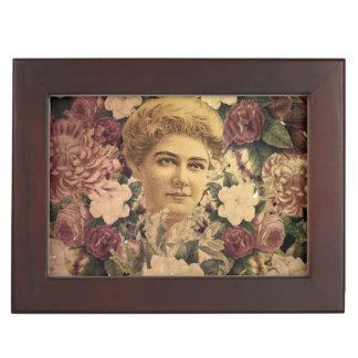 Vintage Woman Flower GrungeII Memory Boxes