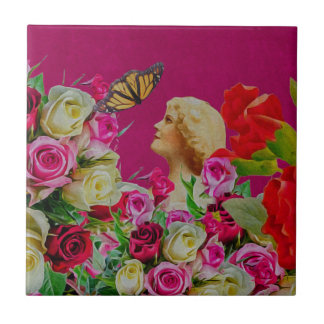 Vintage Woman Flowers Butterfly Small Square Tile