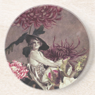 Vintage Woman Glass Floral Collage Coasters