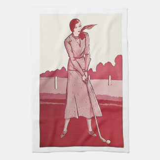 "Vintage Woman Golfer - Golf Towel 16"" x 24"""