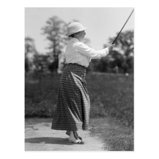 Vintage Woman Golfing 1910s Postcard