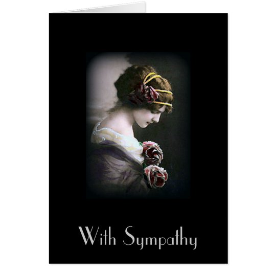 Vintage Woman in Black Sympathy Card