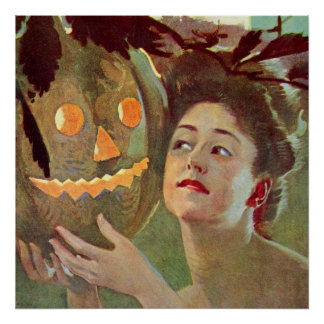 Vintage Woman Pumpkin Jack-o-Lantern Night Poster